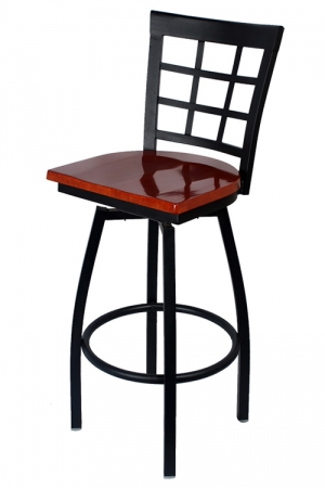 Window Back Swivel Bar Stool