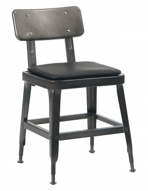 Laurie Bistro-Style Metal Chair in Dark Grey Finish