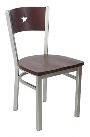 Grey Finish Interchangeable Back Metal Chair with a Star in the Back