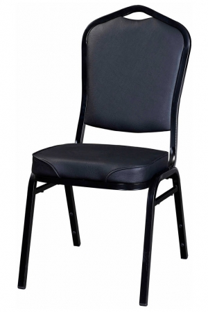 Metal Stack Chair with Black Frame Finish and Black Vinyl