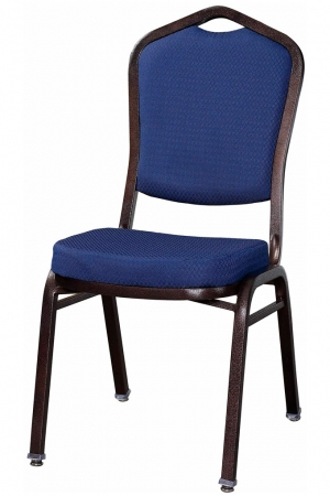 Premium Metal Stack Chair - Copper Vein Frame with Blue Fabric