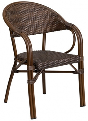 Dark Brown Rattan Chair with Bamboo Look Aluminum Frame