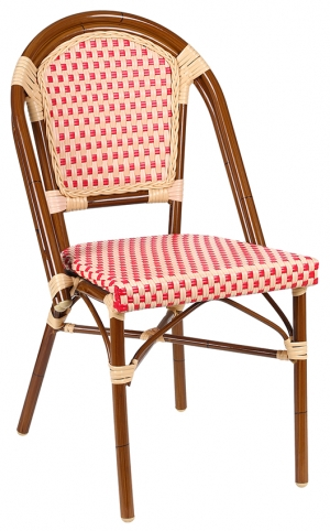 Aluminum Bamboo Chair with Red & Cream Rattan