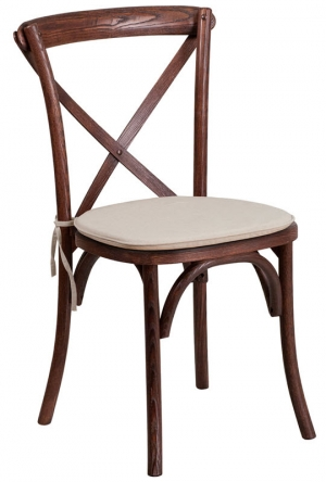 Stackable  X Back Wood Chair with Cushioned Seat
