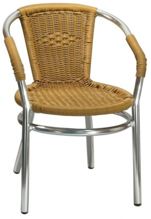 Aluminum Patio Arm Chair with Honey Faux Rattan