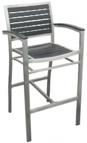 Enjoyable Aluminum Patio Arm Bar Stool With Black Plastic Teak Unemploymentrelief Wooden Chair Designs For Living Room Unemploymentrelieforg