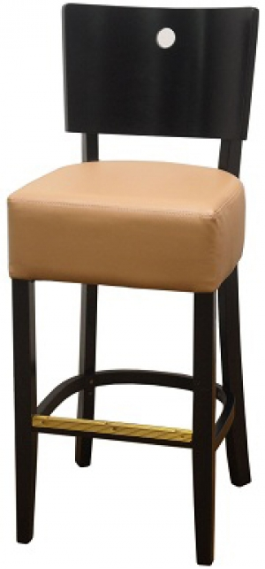 Designer Curved Back Wood Bar Stool