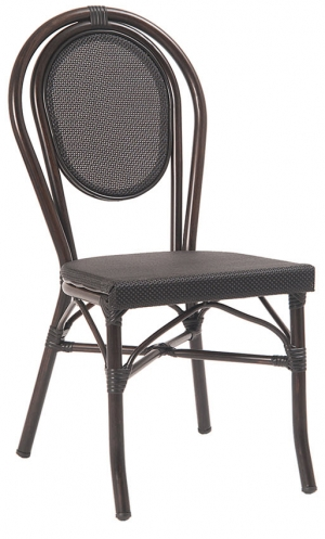 Economy Black Aluminum Patio Chair with Black Rattan