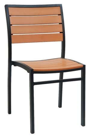 Black Aluminum Plastic Teak Patio Chair