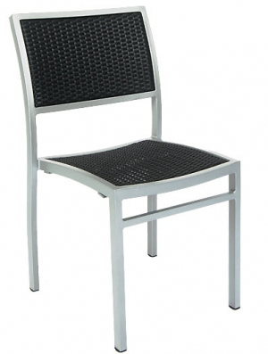 Aluminum Patio Chair with Black Faux Wicker