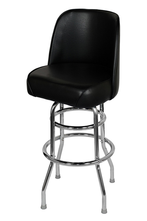 Chrome Swivel Bar Stool With A Single Double Ring