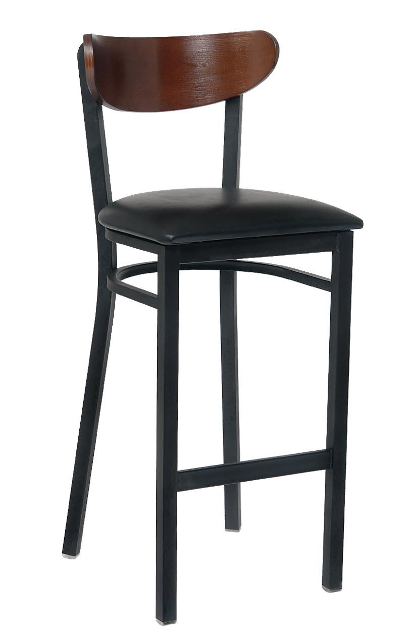 Modern Curved Back Metal Bar Stool With Veneer Seat