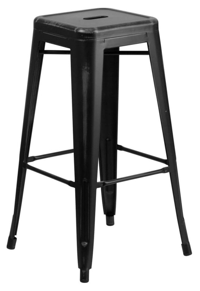 Excellent Distressed Black Backless Bistro Style Bar Stool Caraccident5 Cool Chair Designs And Ideas Caraccident5Info