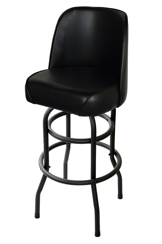 Bucket Seat Swivel Bar Stool With A Black Double Ring Frame