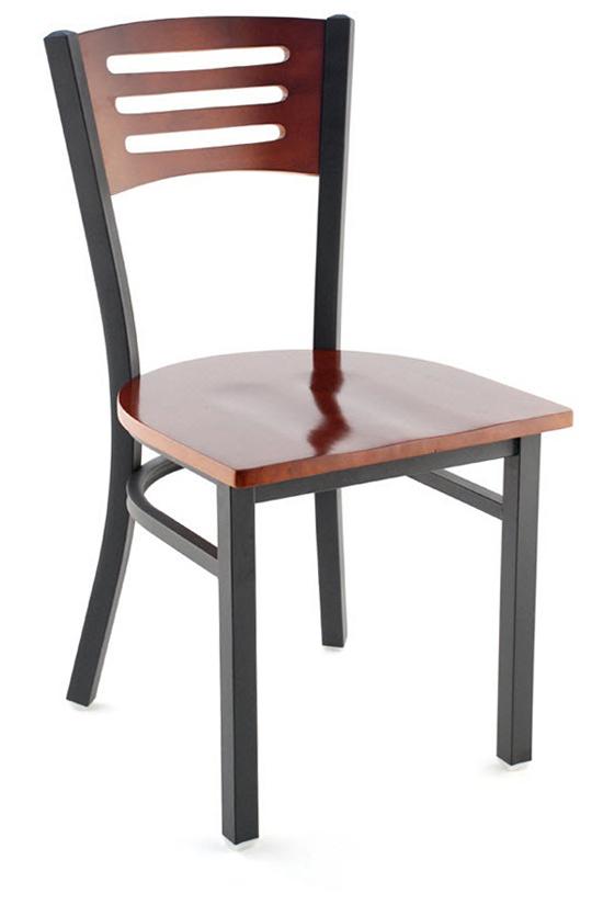 Interchangeable Back Metal Restaurant Chair With 3 Slats