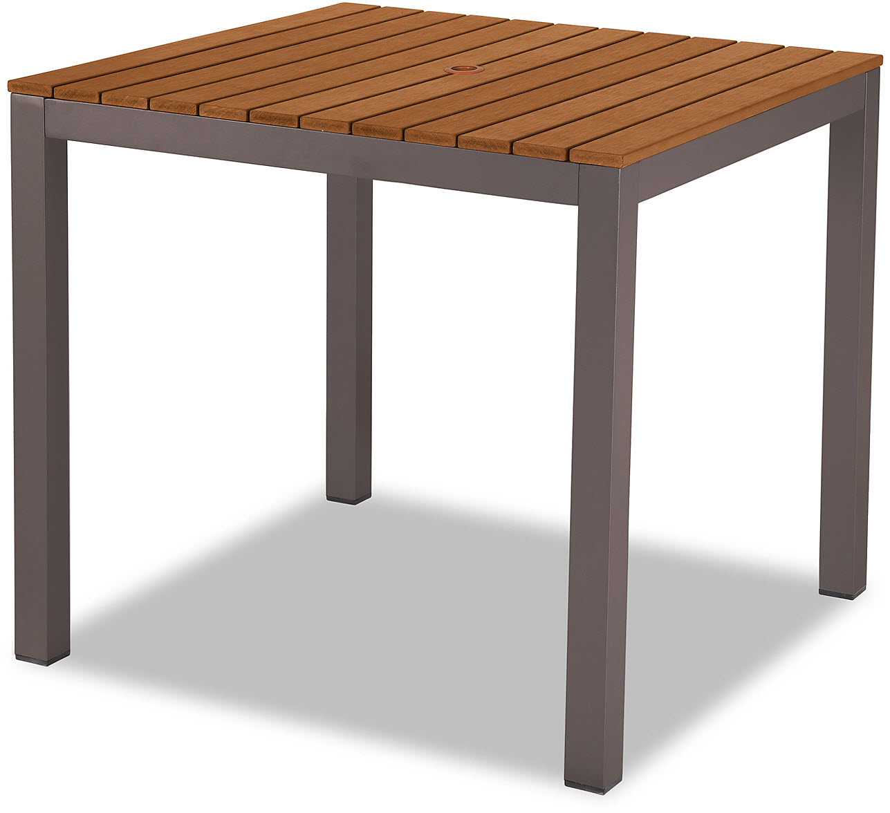 Aluminum Patio Table In Rust Color Finish With Plastic Teak Slats - Teak and aluminium outdoor table