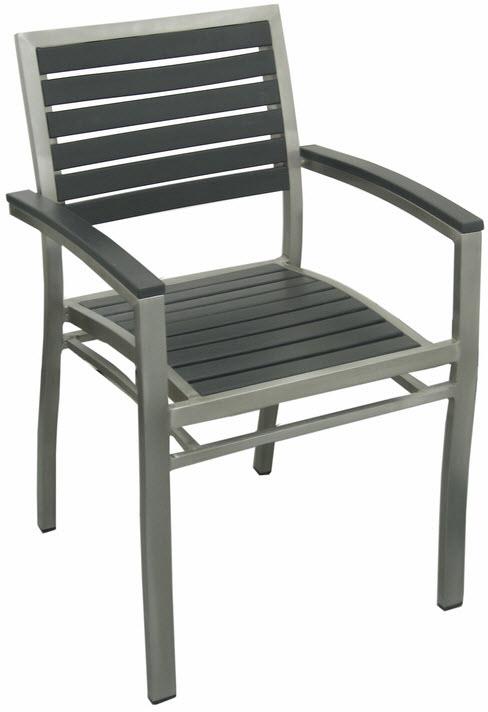 Aluminum Patio Arm Chair With Black Plastic Teak
