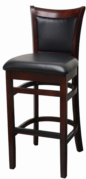 Upholstered Back Wood Bar Stool