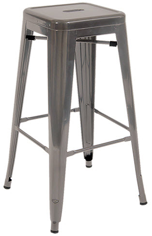 Marvelous Bistro Style Metal Backless Bar Stool In Clear Finish Creativecarmelina Interior Chair Design Creativecarmelinacom