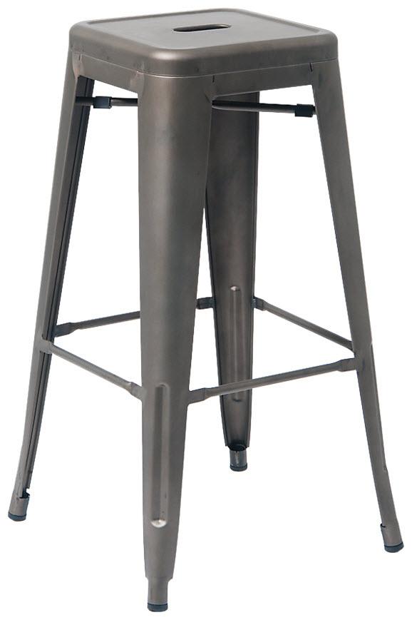 Wondrous Bistro Style Metal Backless Bar Stool In Dark Grey Finish Creativecarmelina Interior Chair Design Creativecarmelinacom