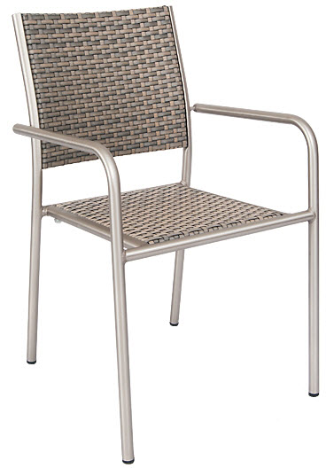 Aluminum Patio Arm Chair With Faux Rattan