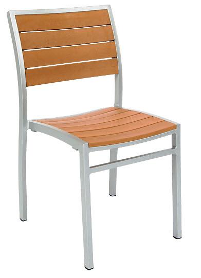 Grey Finish Aluminum Patio Chair With Plastic Teak