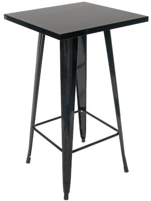 Metal Table In Black Finish Bar Height