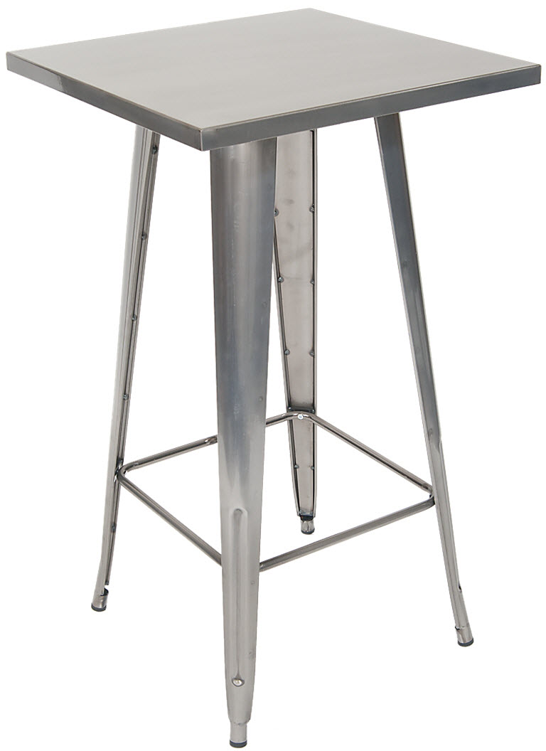 Metal Table In Clear Finish Bar Height