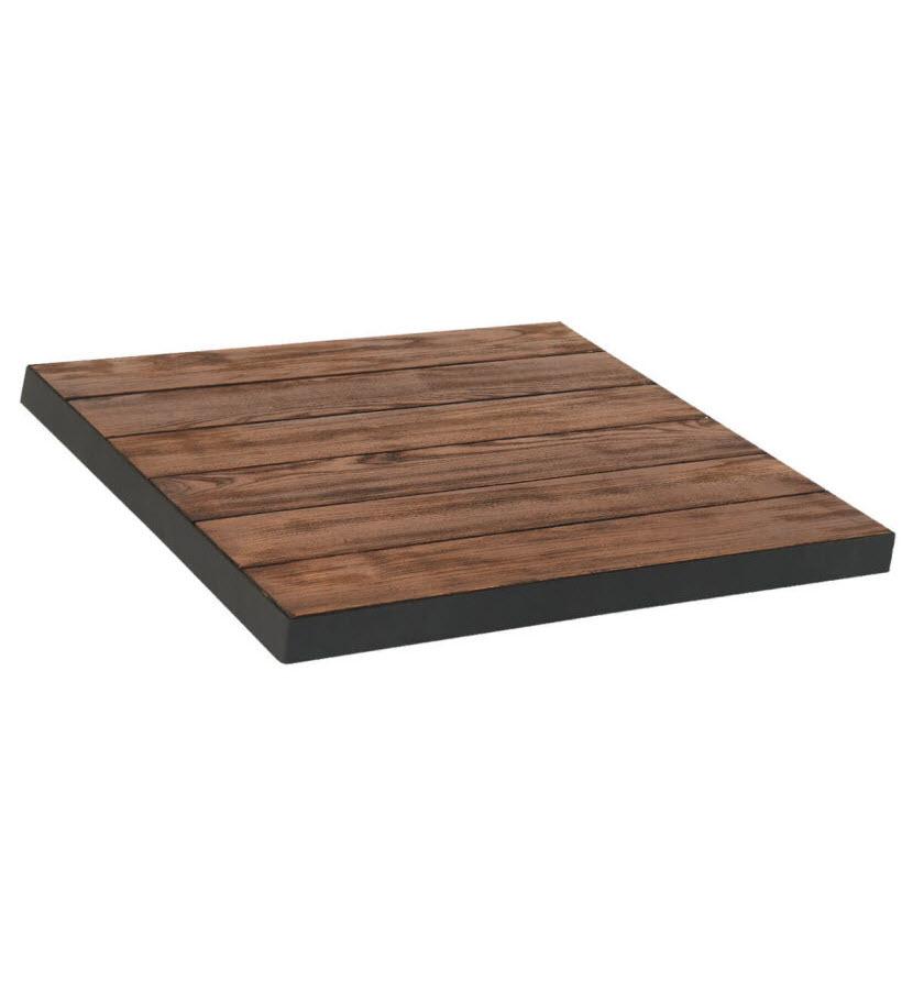 Teak Wood Table Top With Metal Edge