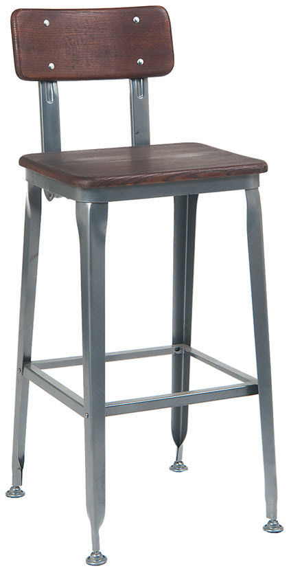 Dark Grey Industrial Style Metal Bar Stool With Wood Back
