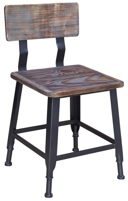 Industrial Series Black Metal Chair With Wood Back Seat