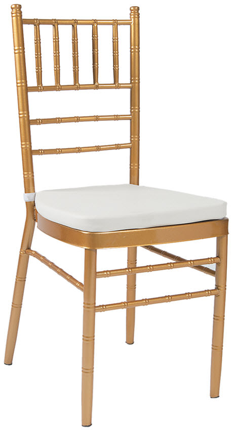 Economy Metal Chiavari Chair In Gold Finish With White Cushion