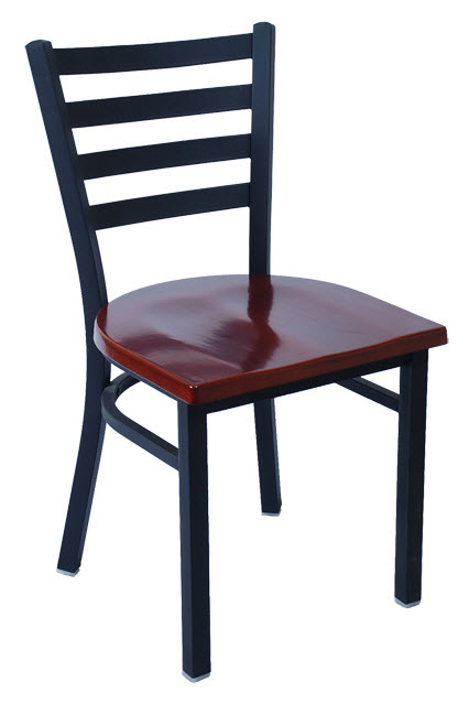 Metal Ladder Back Chair. Black Finish And Dark Mahogany Solid Wood Seat