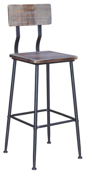 Industrial Series Black Metal Bar Stool with Wood Back & Seat in Distressed Walnut Finish