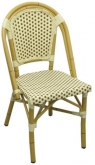 Aluminum Bamboo Patio Chair with Brown & White Rattan