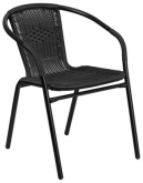 Black Indoor-Outdoor Rattan Restaurant Chair
