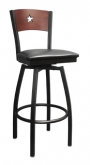 Black Finish Star Back Swivel Metal Bar Stool