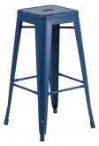 Distressed Dark Blue Backless Bistro Style Bar Stool