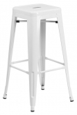 White Backless Bistro Style Bar Stool
