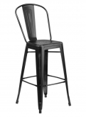 Distressed Black Bistro Style Metal Bar Stool