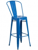 Blue Bistro Style Metal Bar Stool