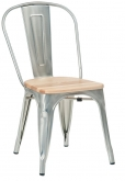 Bistro Style Metal Chair in Silver Finish with Natural Wood Seat