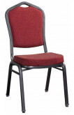 Premium Metal Stack Chair - Silver Vein Frame with Red Fabric