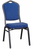 Premium Metal Stack Chair - Silver Vein Frame with Blue Fabric