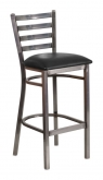 Clear Coat Metal Ladder Back Bar Stool