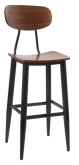 Basel Metal Bar Stool with Veneer Wood Back and Seat
