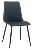 Abbyson Padded Metal Chair with Black Vinyl Upholstery
