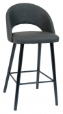 Dark Grey Vinyl Bar Stool with Black Beechwood Legs