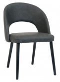 Dark Grey Vinyl  Lounge Chair with Black Beechwood Legs