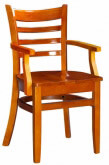 Premium Ladder Back Wood Chair with Arms